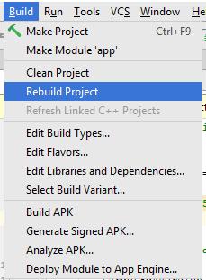 Android Studio Build Menu Option