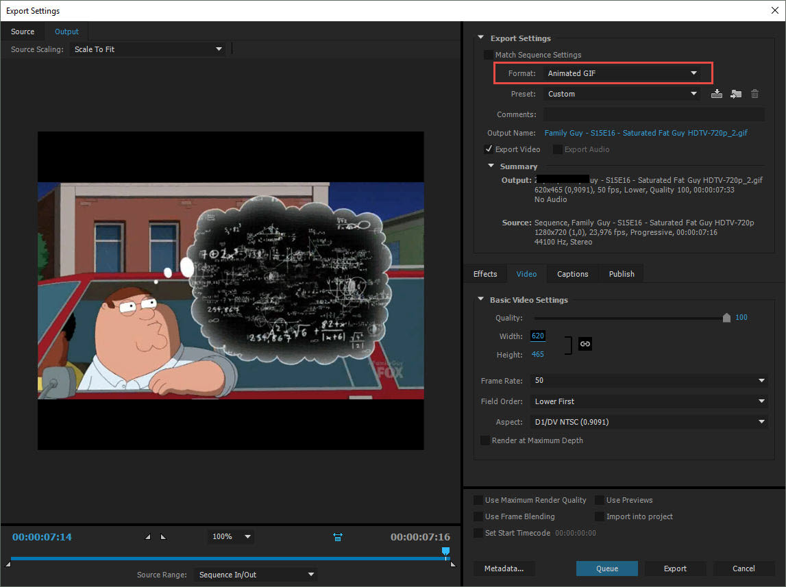Adobe Premiere Pro: Animated GIF Format